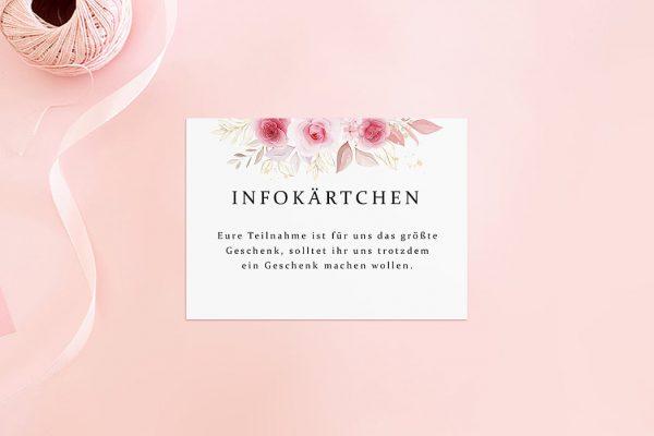 Extras Rosenpracht Klassisch Hochzeitsinfokärtchen