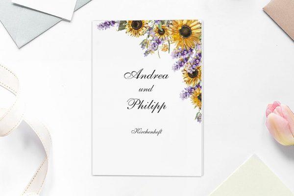 Extras Blumenherz Sonnenblumen Kirchenheft Hochzeit