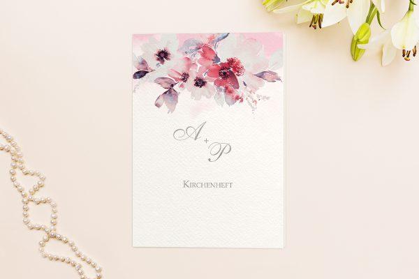 Extras Aquarell Rosa Kirchenheft Hochzeit