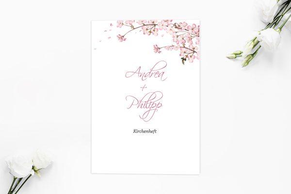 Extras Zeichnung Kirschblüte Kirchenheft Hochzeit