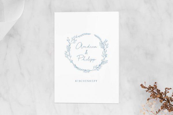 Extras Rosenpracht mit Gräsern Kirchenheft Hochzeit