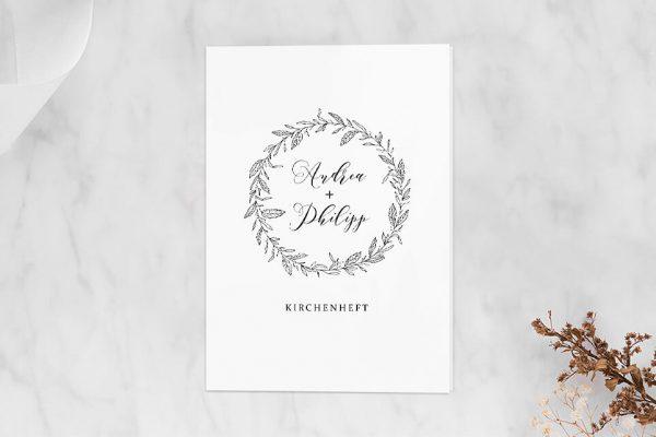 Extras Rosenpracht mit Blättern Kirchenheft Hochzeit