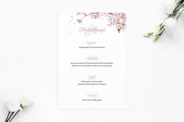 Extras Zeichnung Kirschblüte Menükarten
