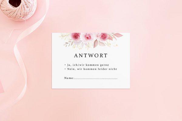 Antwortkarten zur Hochzeit Rosenpracht Klassisch Antwortkarten