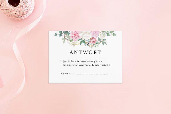 Antwortkarten zur Hochzeit Rosenpracht Gerahmt Antwortkarten