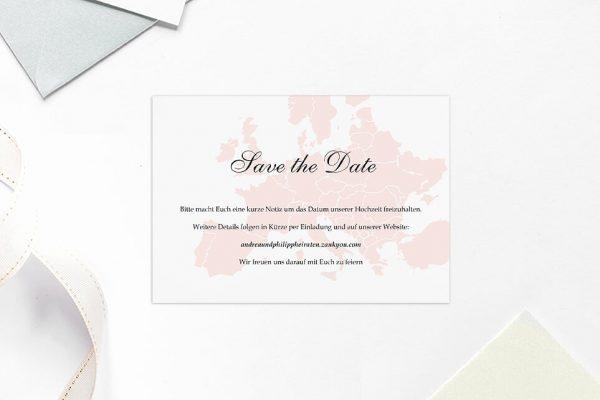 Save the Date-Karten Blumenherz Weltreise Save the Date Karten