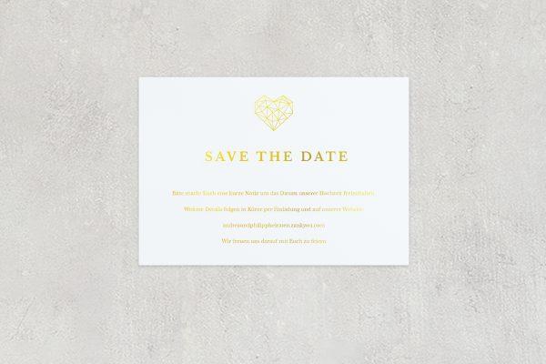 Save the Date-Karten Herzensangelegenheit dreidimensional Save the Date Karten