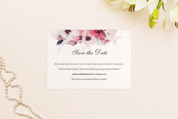 Save the Date-Karten Aquarell Rosa Save the Date Karten