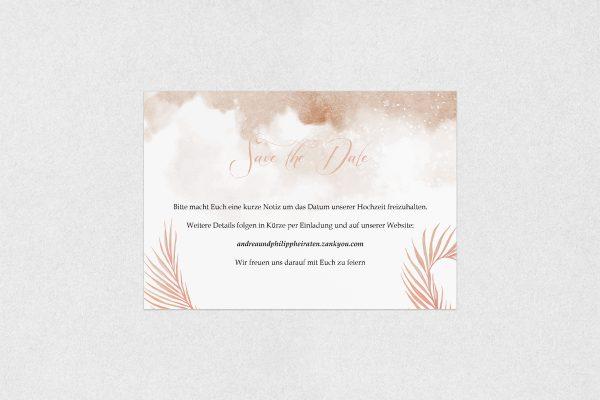 Save the Date-Karten Palmen fernöstlich Save the Date Karten