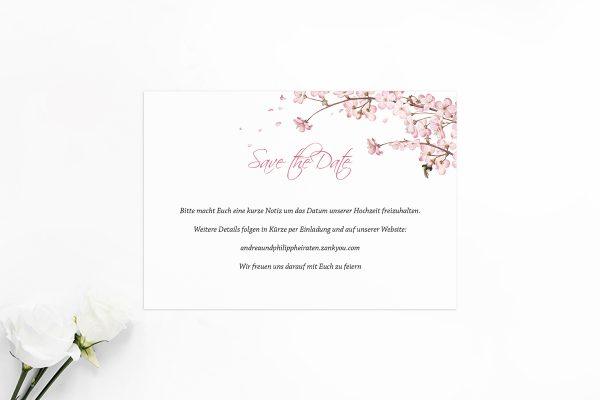 Save the Date-Karten Zeichnung Kirschblüte Save the Date Karten