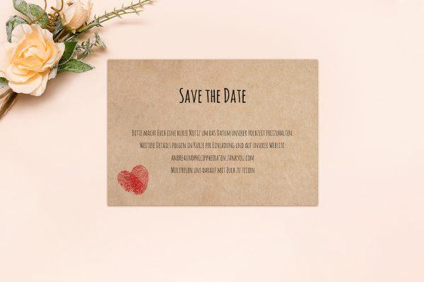 Save the Date-Karten Fingerabdruck Liebeserklärung Save the Date Karten