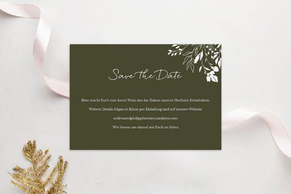 Save the Date-Karten Aufnahme mit Gräserkranz Save the Date Karten