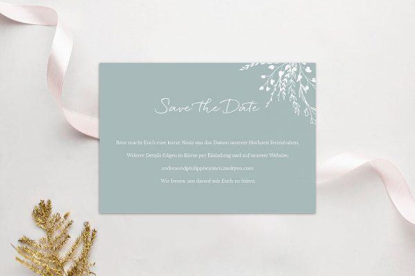 Save the Date-Karten Aufnahme mit Blümchenkranz Save the Date Karten