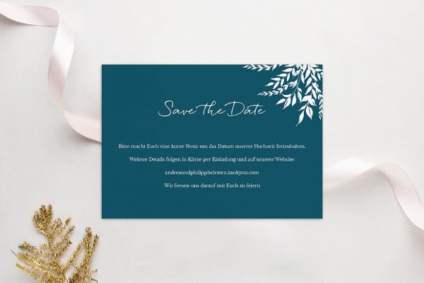 Save the Date-Karten Aufnahme mit einfachem Kranz Save the Date Karten