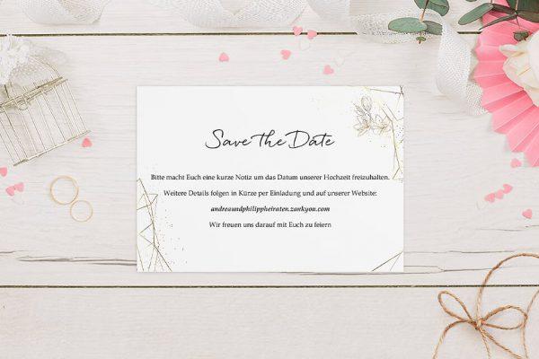 Save the Date-Karten Floral Elegant Blütenrahmen Save the Date Karten