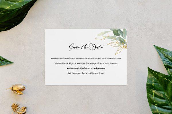 Save the Date-Karten Greenery Golden Save the Date Karten