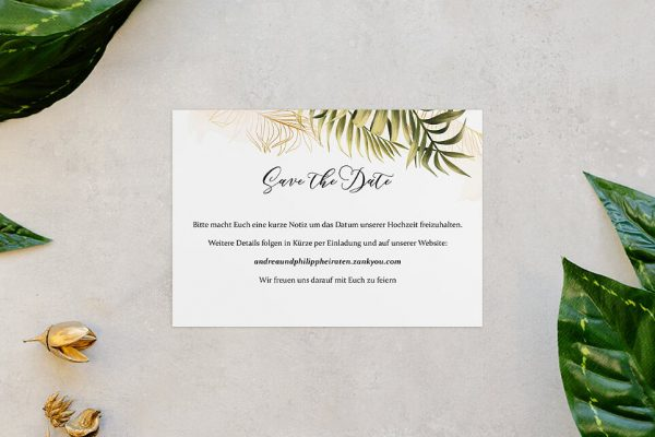 Save the Date-Karten Greenery Exotisch Save the Date Karten