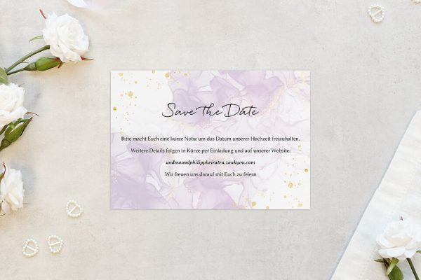 Save the Date-Karten Batik Veilchenblau Save the Date Karten