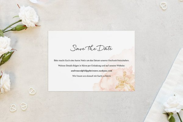 Save the Date-Karten Aprikosen Explosion Edel Save the Date Karten