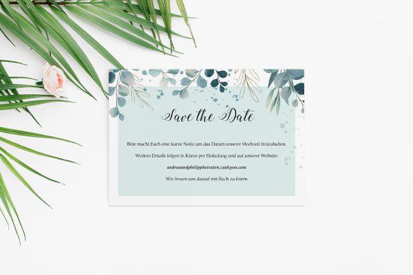 Save the Date-Karten Tropical Eukalyptus Save the Date Karten