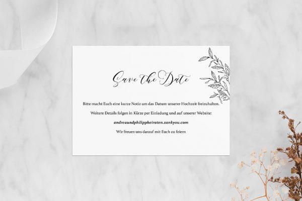 Save the Date-Karten Rosenpracht mit Blättern Save the Date Karten