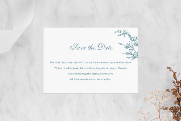Save the Date-Karten Rosenpracht mit Ehrenkranz Save the Date Karten