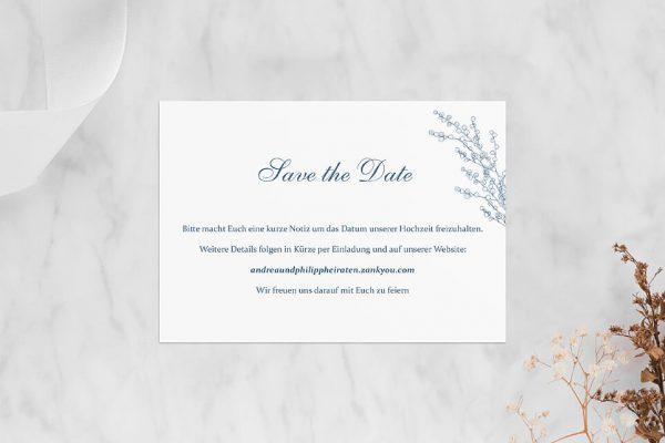 Save the Date-Karten Rosenpracht mit Tannenzapfen Save the Date Karten
