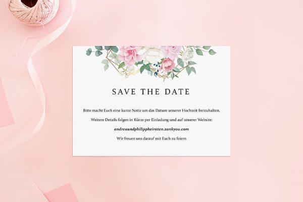 Save the Date-Karten Rosenpracht Gerahmt Save the Date Karten