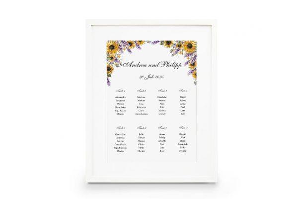 Extras Blumenherz Sonnenblumen Sitzplan Hochzeit