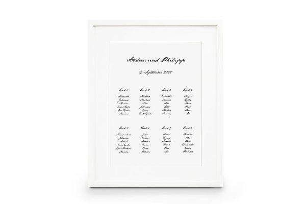 Extras Kalligraphie Handschriftlich Sitzplan Hochzeit
