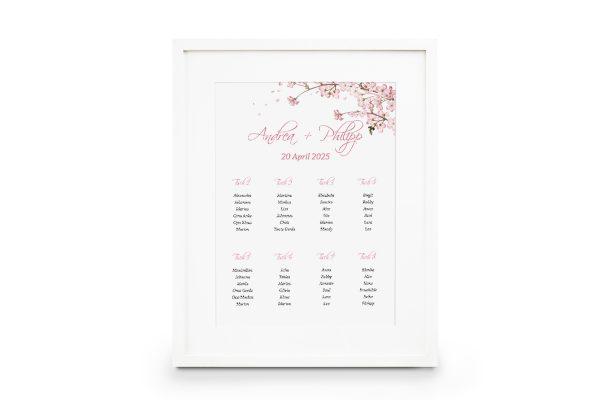Extras Zeichnung Kirschblüte Sitzplan Hochzeit