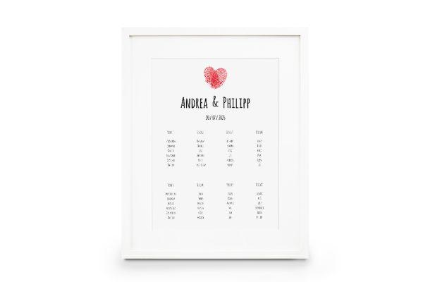 Extras Fingerabdruck Liebeserklärung Sitzplan Hochzeit
