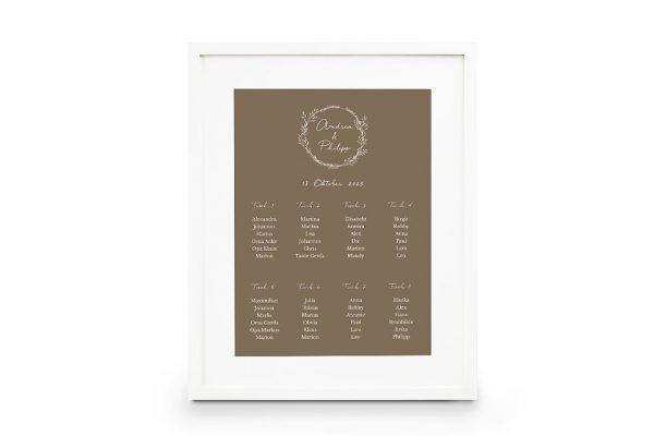Extras Aufnahme mit stilisiertem Kranz Sitzplan Hochzeit