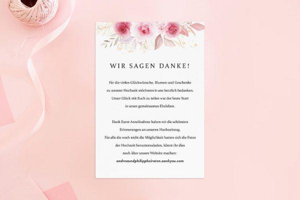 Dankeskarten zur Hochzeit Rosenpracht Klassisch Dankeskarten