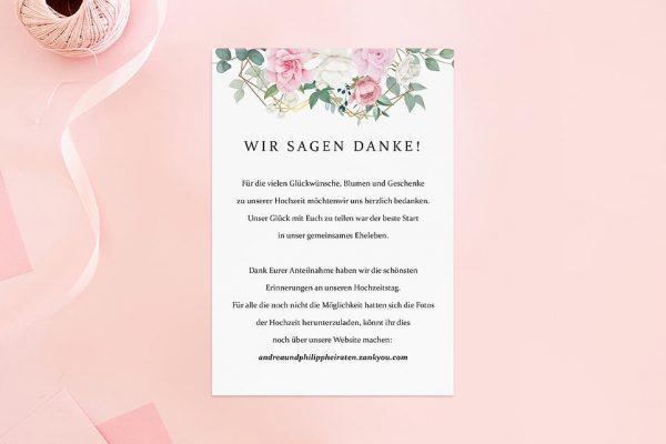Dankeskarten zur Hochzeit Rosenpracht Gerahmt Dankeskarten