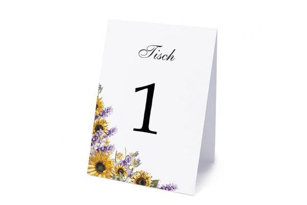Extras Blumenherz Sonnenblumen Tischnummern