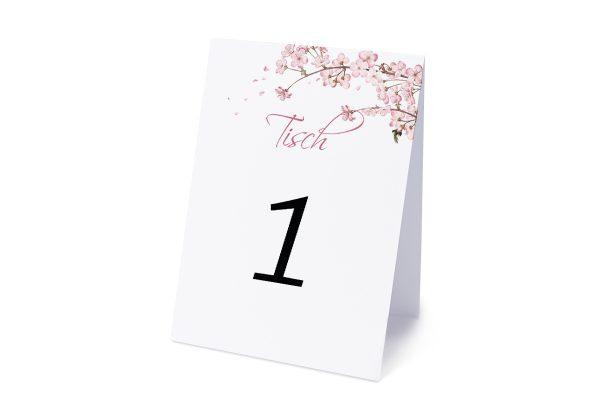 Extras Zeichnung Kirschblüte Tischnummern