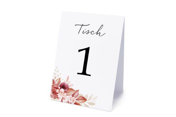 Extras Minimalistischer Kranz Rosa Eleganz Tischnummern