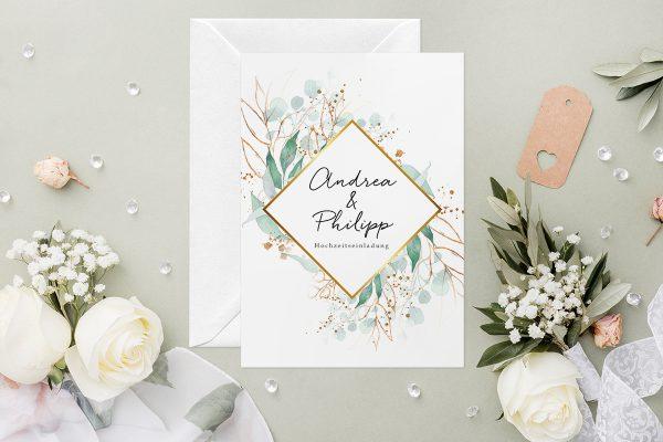 Hochzeitseinladungen Hochzeitseinladungen Minimalistischer Kranz Wiesengrün