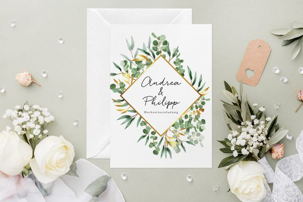 Hochzeitseinladungen Hochzeitseinladungen Minimalistischer Kranz Dschungel Grün