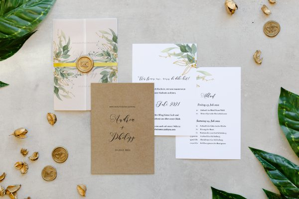 Hochzeitseinladungen Hochzeitseinladungen Greenery Golden