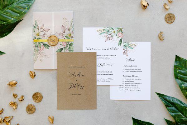 Hochzeitseinladungen Hochzeitseinladungen Greenery Fliessend