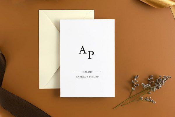 Hochzeitseinladungen Hochzeitseinladungen Modern Monogramm mittig