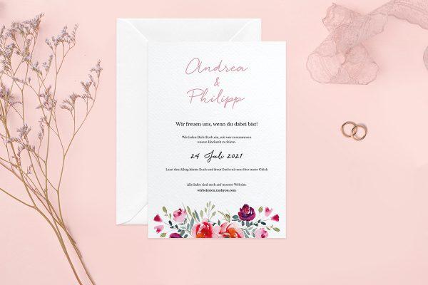 Hochzeitseinladungen Hochzeitseinladungen Blumenbeet Luftig