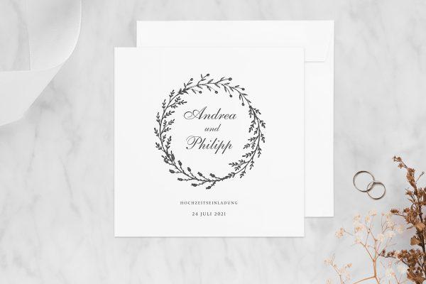 Hochzeitseinladungen Hochzeitseinladungen Rosenpracht mit Tannenzweigen