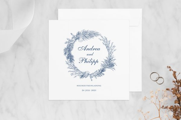 Hochzeitseinladungen Hochzeitseinladungen Rosenpracht mit Tannenzapfen