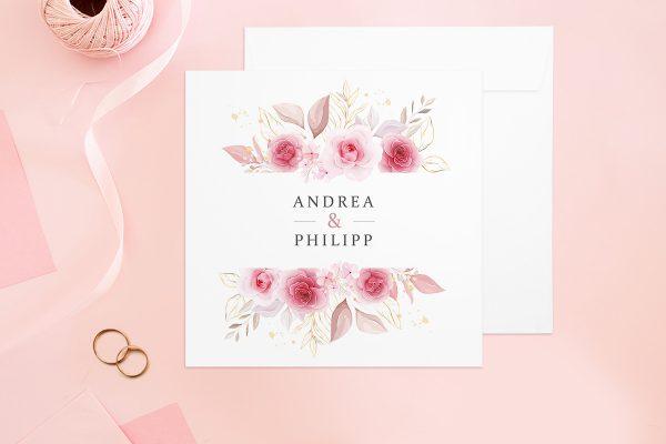 Hochzeitseinladungen Hochzeitseinladungen Rosenpracht Klassisch