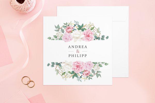 Hochzeitseinladungen Hochzeitseinladungen Rosenpracht Gerahmt