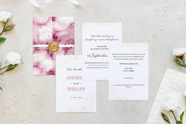 Hochzeitseinladungen Hochzeitseinladungen Batik Himbeerfarben