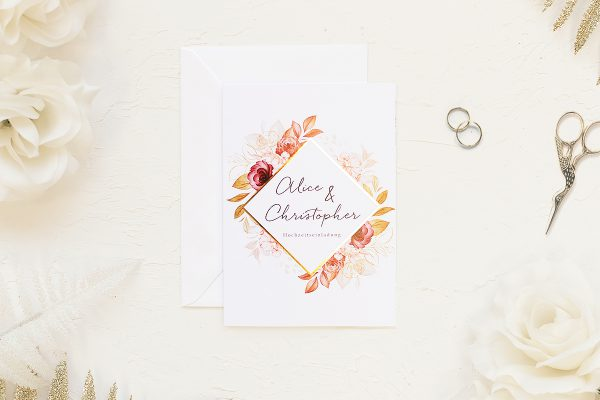 Hochzeitseinladungen Hochzeitseinladungen Blumenkranz Blütenpracht